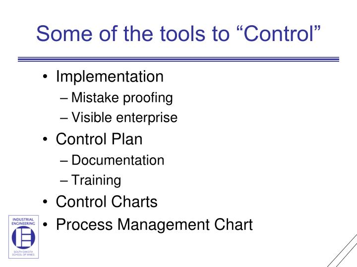"Some of the tools to ""Control"""