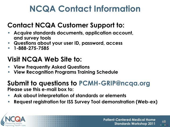 NCQA Contact Information