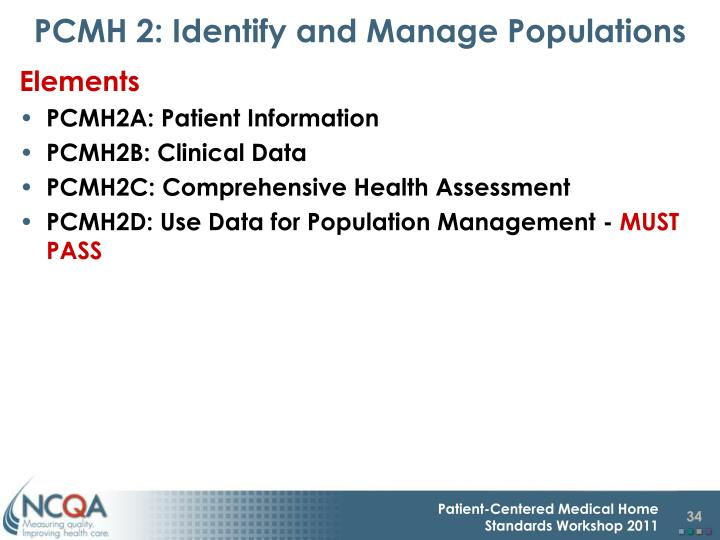 PCMH 2: Identify and Manage Populations