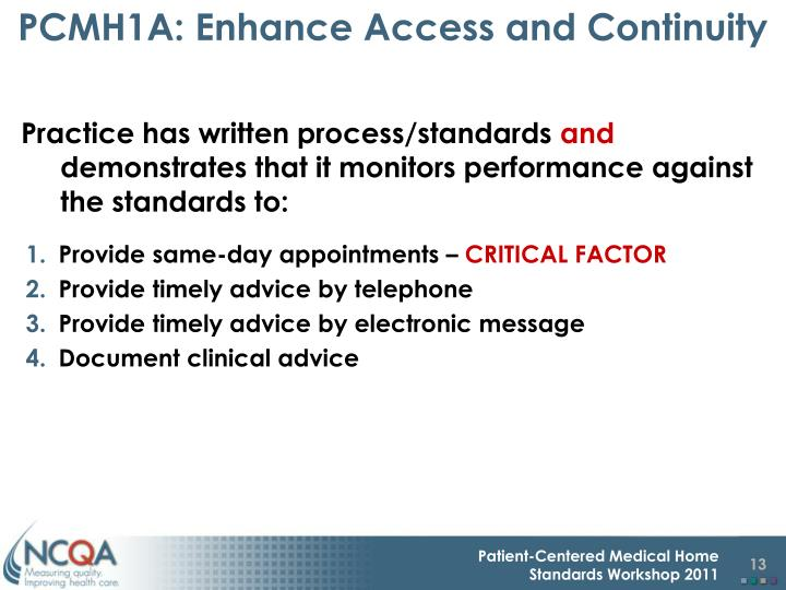 PCMH1A: Enhance Access and Continuity