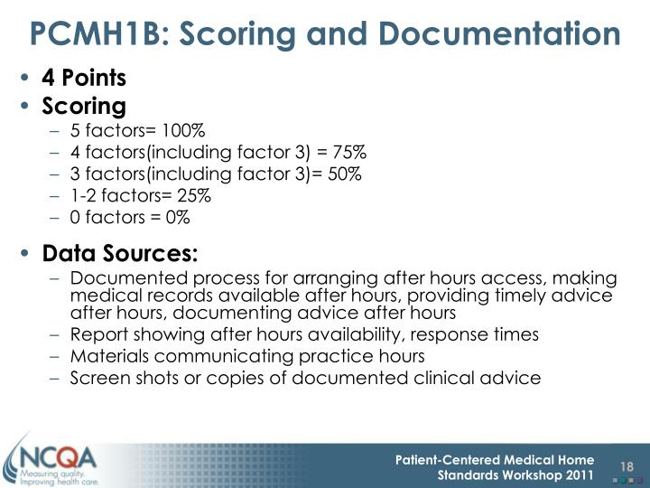 PCMH1B: Scoring and Documentation