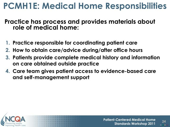 PCMH1E: Medical Home Responsibilities