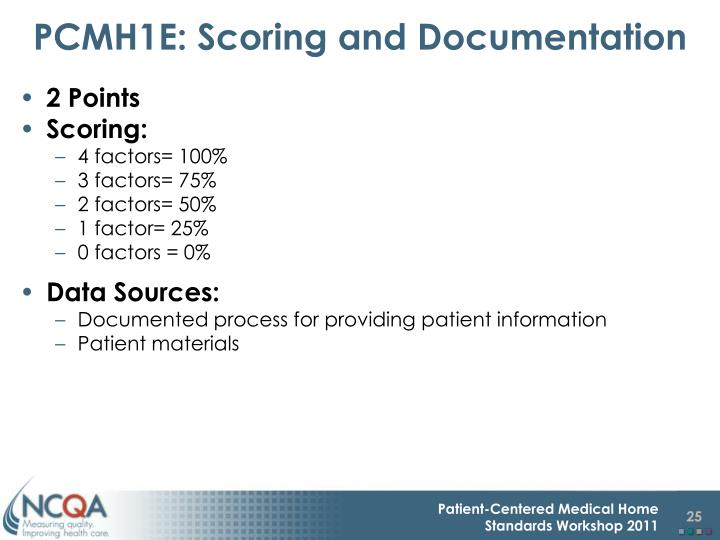 PCMH1E: Scoring and Documentation