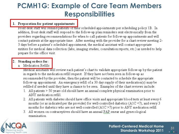 PCMH1G: Example of Care Team Members Responsibilities