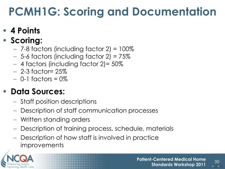PCMH1G: Scoring and Documentation