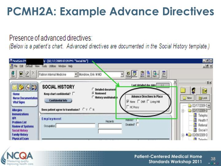 PCMH2A: Example Advance Directives