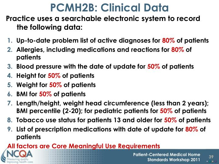PCMH2B: Clinical Data