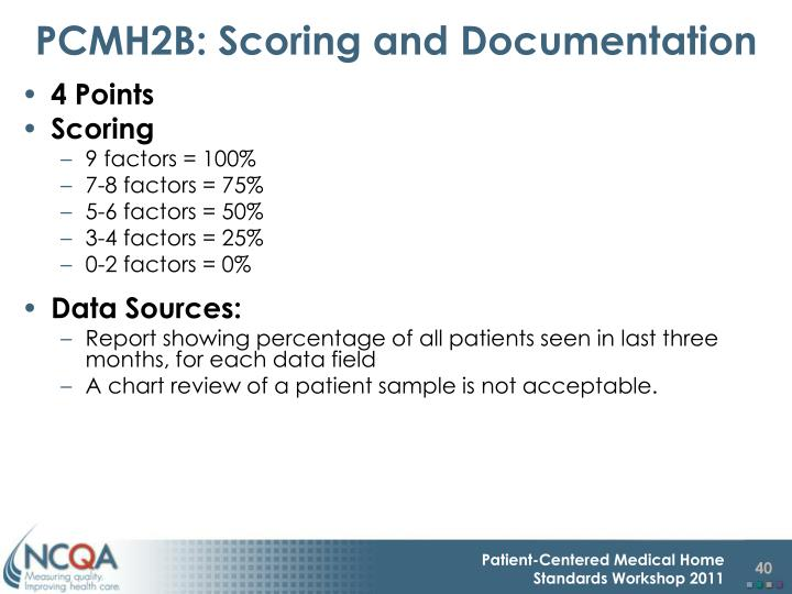 PCMH2B: Scoring and Documentation