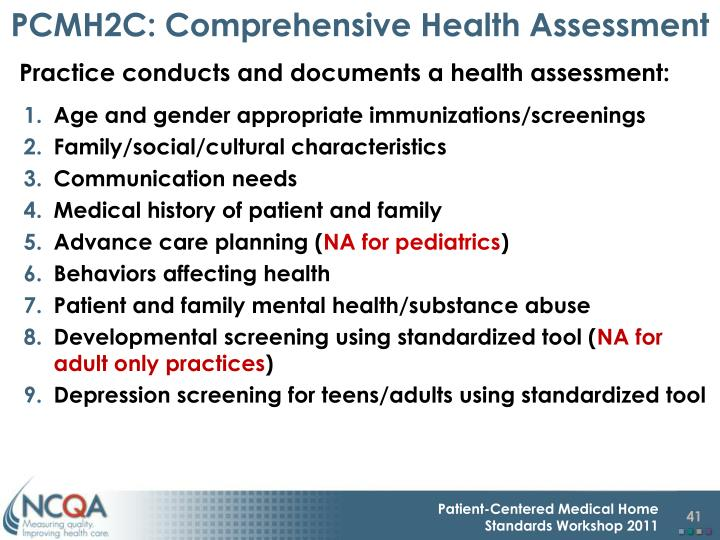 PCMH2C: Comprehensive Health Assessment