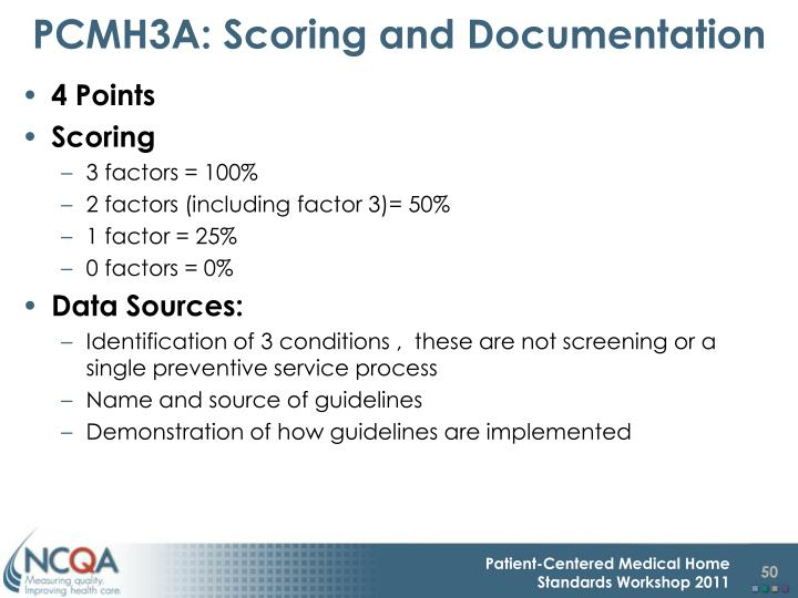 PCMH3A: Scoring and Documentation