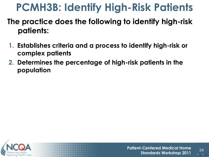 PCMH3B: Identify High-Risk Patients