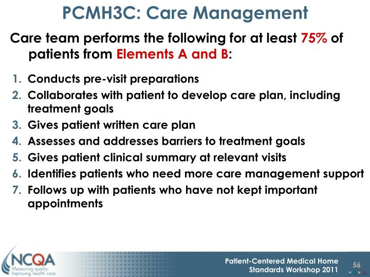 PCMH3C: Care Management