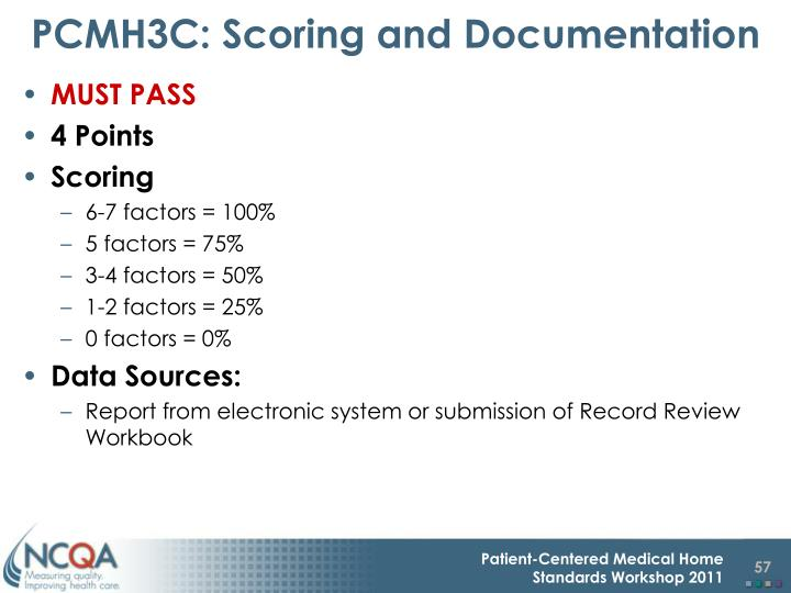PCMH3C: Scoring and Documentation
