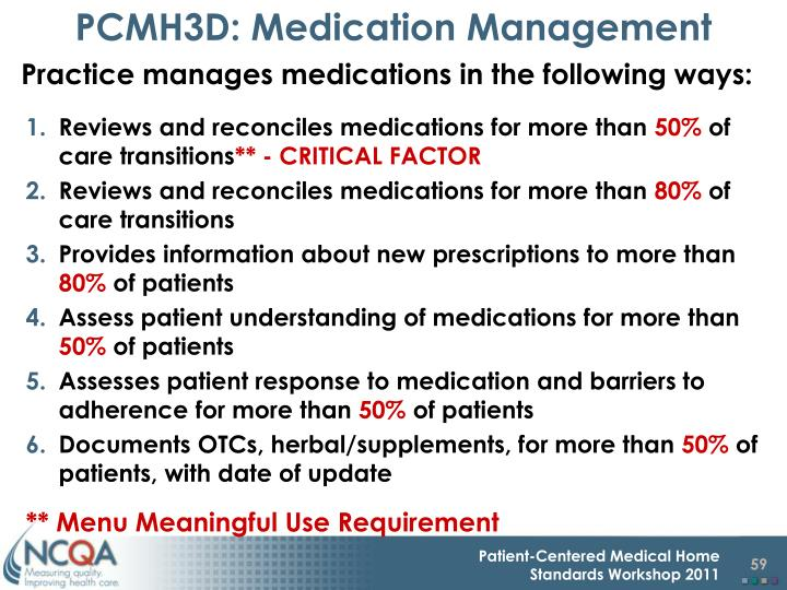 PCMH3D: Medication Management