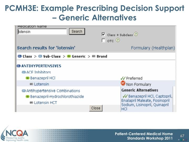 PCMH3E: Example Prescribing Decision Support – Generic Alternatives