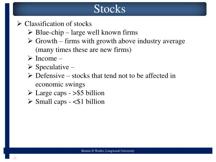 Classification of stocks