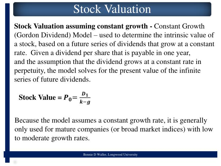 Stock Valuation assuming constant growth -