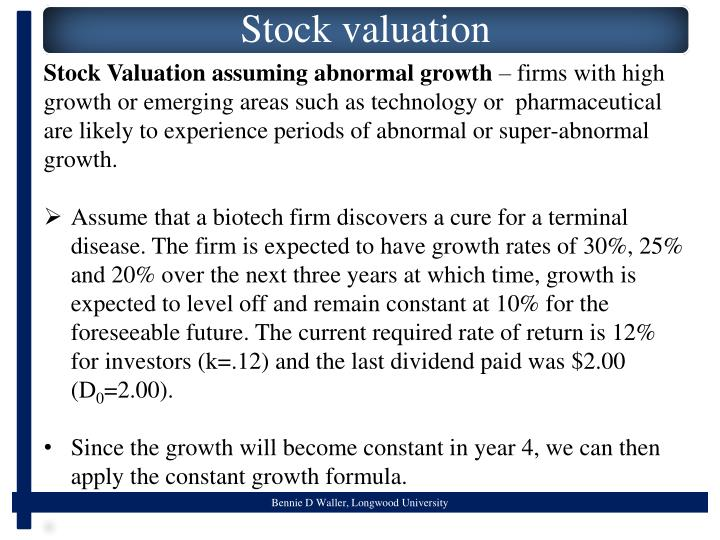 Stock Valuation assuming