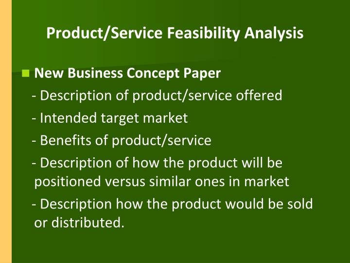 Product/Service Feasibility Analysis