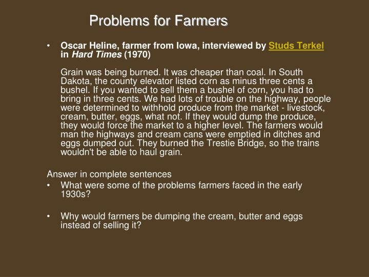 Problems for Farmers