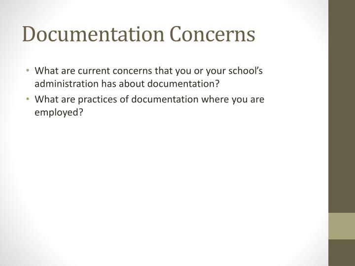 Documentation Concerns