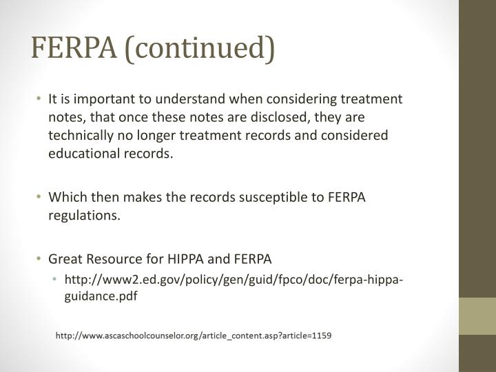 FERPA (continued)