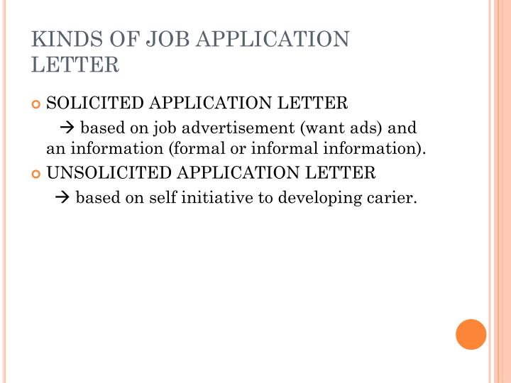 solicited letter of application definition What is the meaning of an application letter a: what is a solicited application letter how do you present a resume how do you write a letter to request a job.