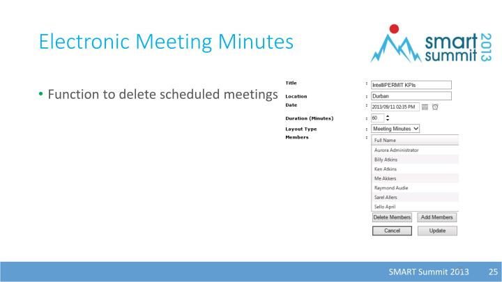 Electronic Meeting Minutes