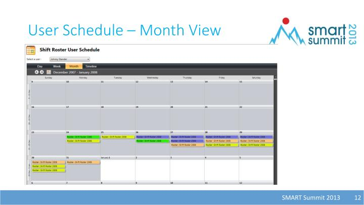 User Schedule – Month View