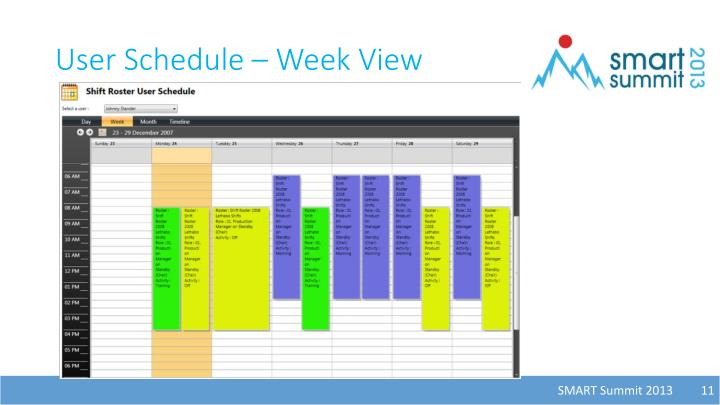 User Schedule – Week View