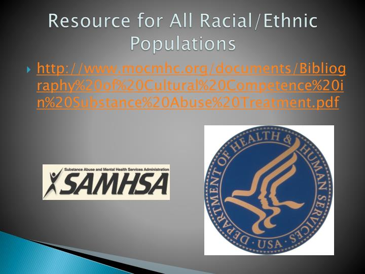 Resource for All Racial/Ethnic Populations
