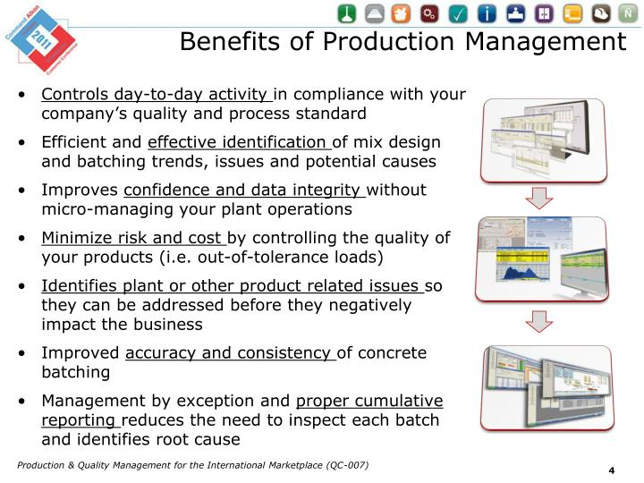 Benefits of Production Management