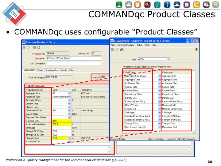 COMMANDqc Product Classes