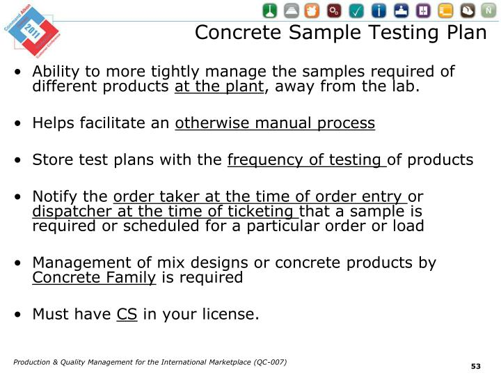 Concrete Sample Testing Plan