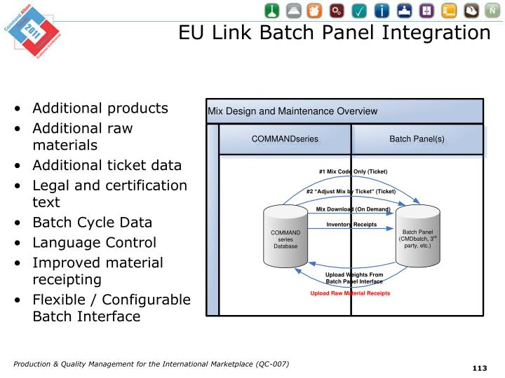 EU Link Batch Panel Integration
