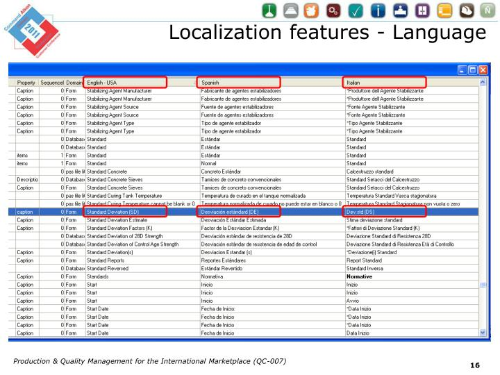 Localization features - Language