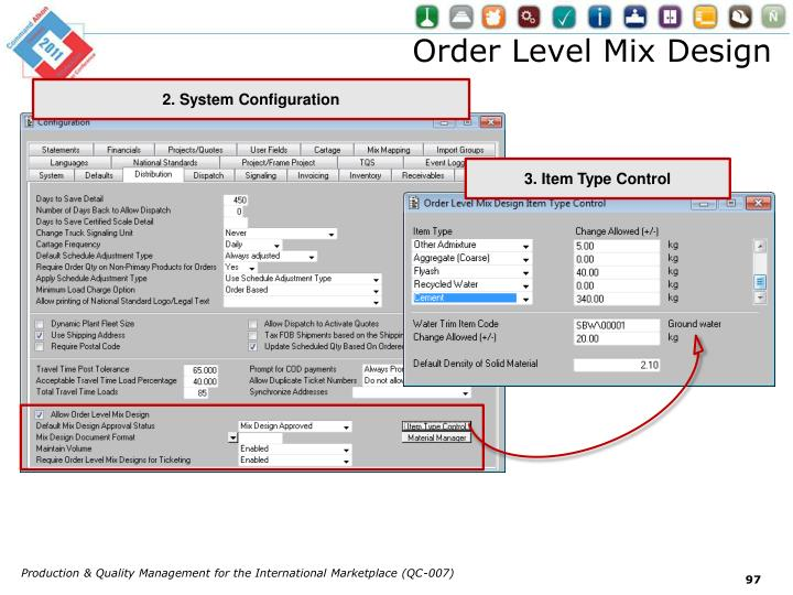 Order Level Mix Design