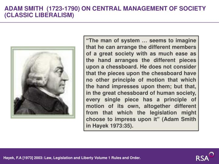 ADAM SMITH  (1723-1790) ON CENTRAL MANAGEMENT OF SOCIETY (CLASSIC LIBERALISM)