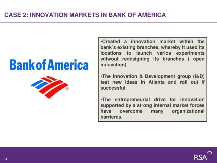 CASE 2: INNOVATION MARKETS IN BANK OF AMERICA