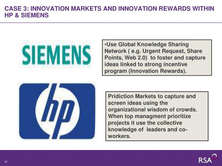 CASE 3: INNOVATION MARKETS AND INNOVATION REWARDS WITHIN  HP & SIEMENS