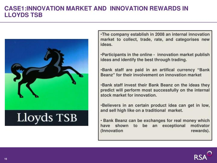 CASE1:INNOVATION MARKET AND  INNOVATION REWARDS IN LLOYDS TSB