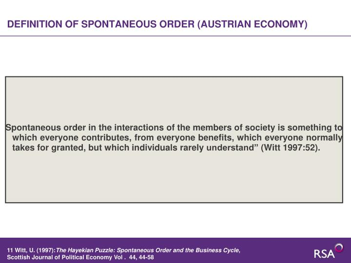 DEFINITION OF SPONTANEOUS ORDER (AUSTRIAN ECONOMY)