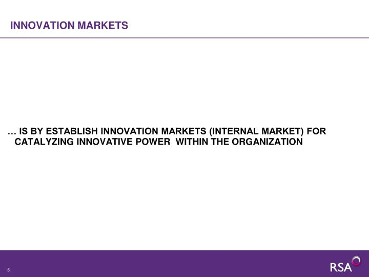 INNOVATION MARKETS