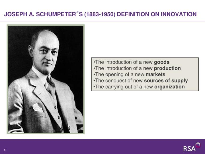 Joseph a schumpeter s 1883 1950 definition on innovation