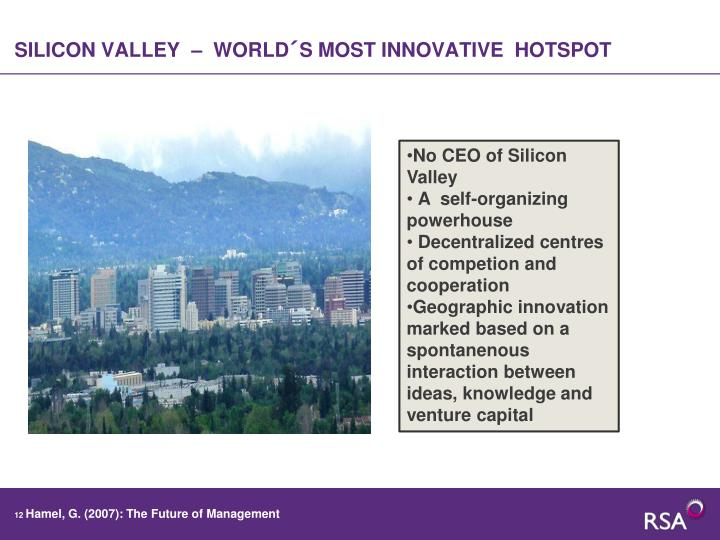 SILICON VALLEY  –  WORLD´S MOST INNOVATIVE  HOTSPOT
