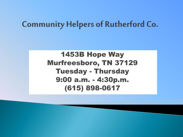 Community helpers of rutherford co
