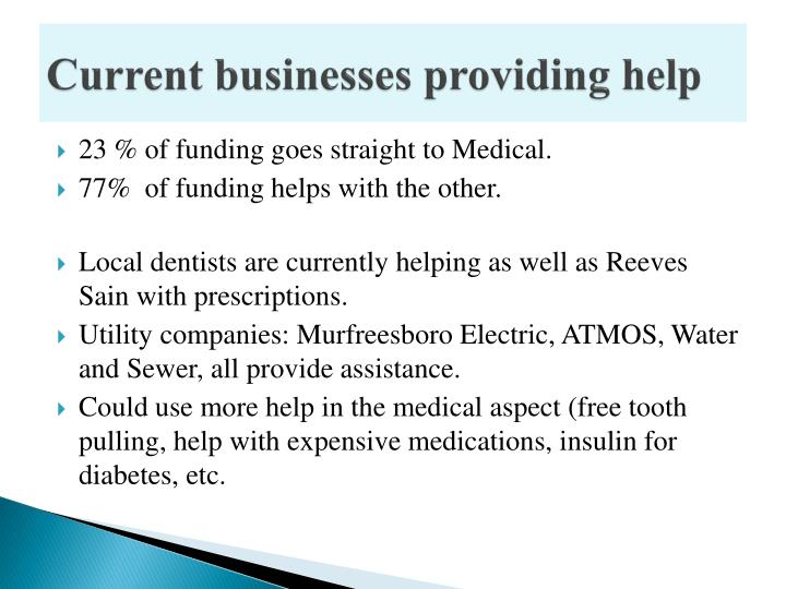 Current businesses providing help