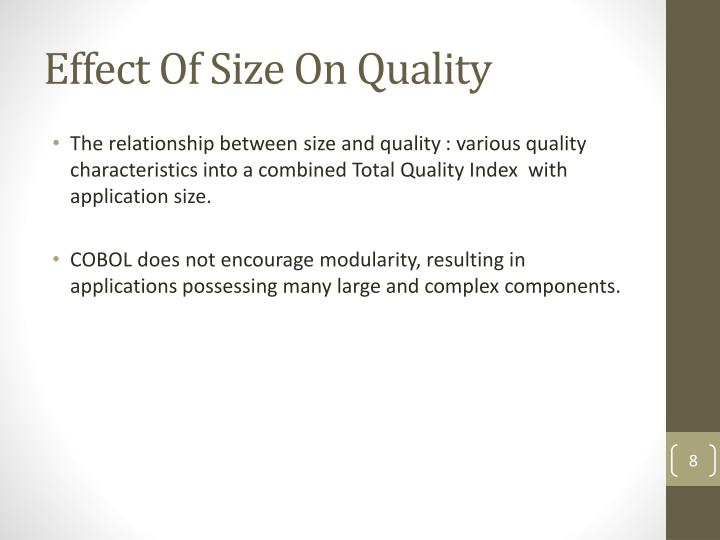 Effect Of Size On Quality