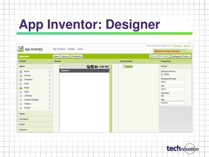 App Inventor: Designer