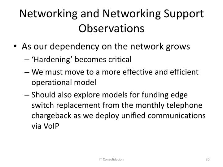 Networking and Networking Support